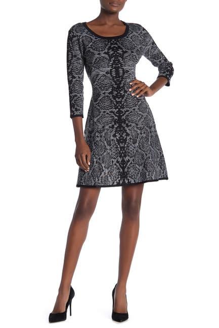Image of Nina Leonard Scoop Neck Snake Print Sweater Dress