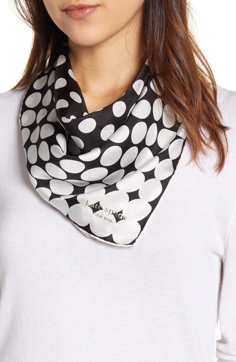 KATE SPADE NEW YORK gradient dot silk scarf, Main, color, BLACK