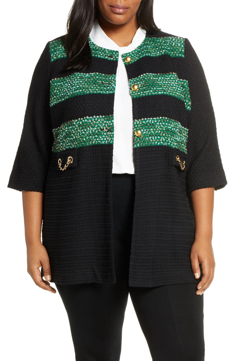 MING WANG Long Tweed Jacket, Main, color, BLACK/ FOREST/ LIMESTONE