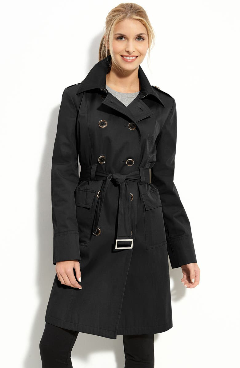 MICHAEL MICHAEL KORS Flap Pocket Trench, Main, color, 001