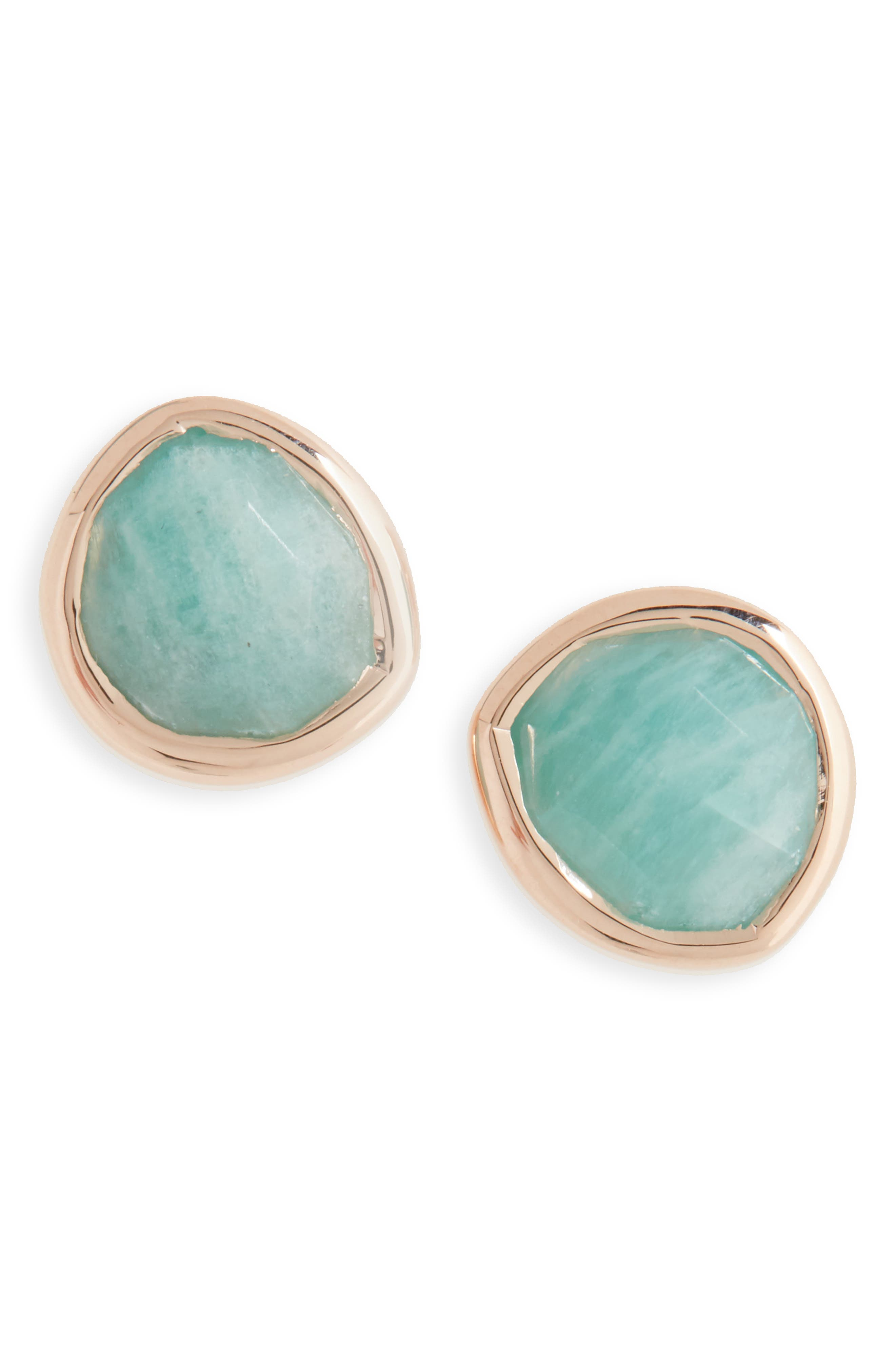 'Siren' Semiprecious Stone Stud Earrings, Main, color, AMAZONITE/ ROSE GOLD
