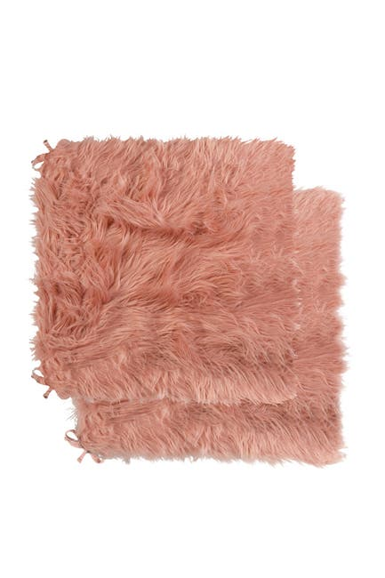 """Image of LUXE Faux Fur Laredo 2-Pack Seat Cushions - 16"""" x 16"""" x 1"""" - Dusty Rose"""