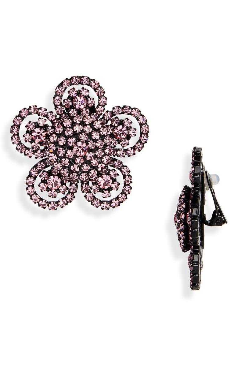 ASHLEY WILLIAMS Bloom Crystal Clip-On Earrings, Main, color, 650