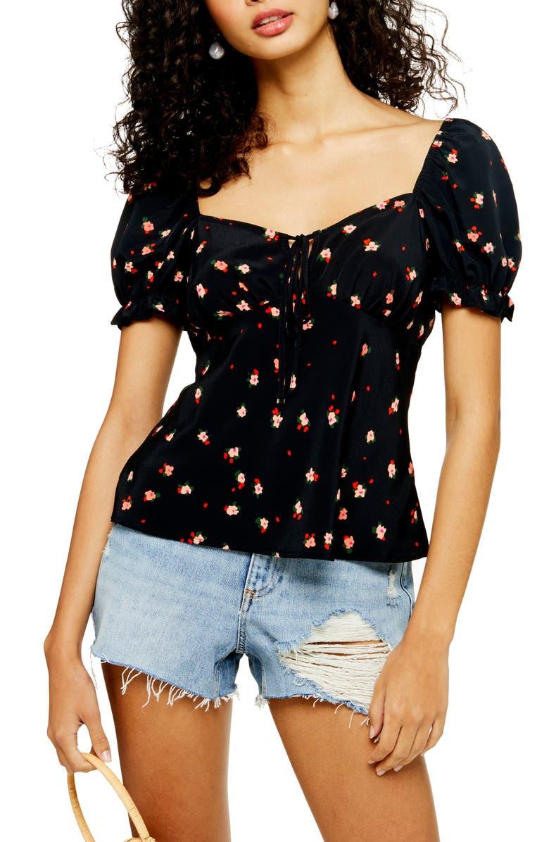 TOPSHOP Gigi Ditsy Floral Print Tie Front Blouse, Main, color, BLACK MULTI