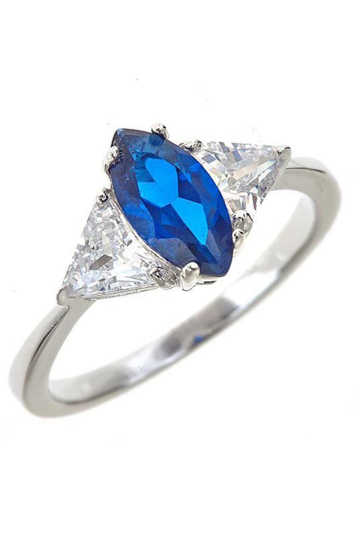 Image of Sterling Forever Sterling Silver Sapphire CZ Marquise Cut Ring