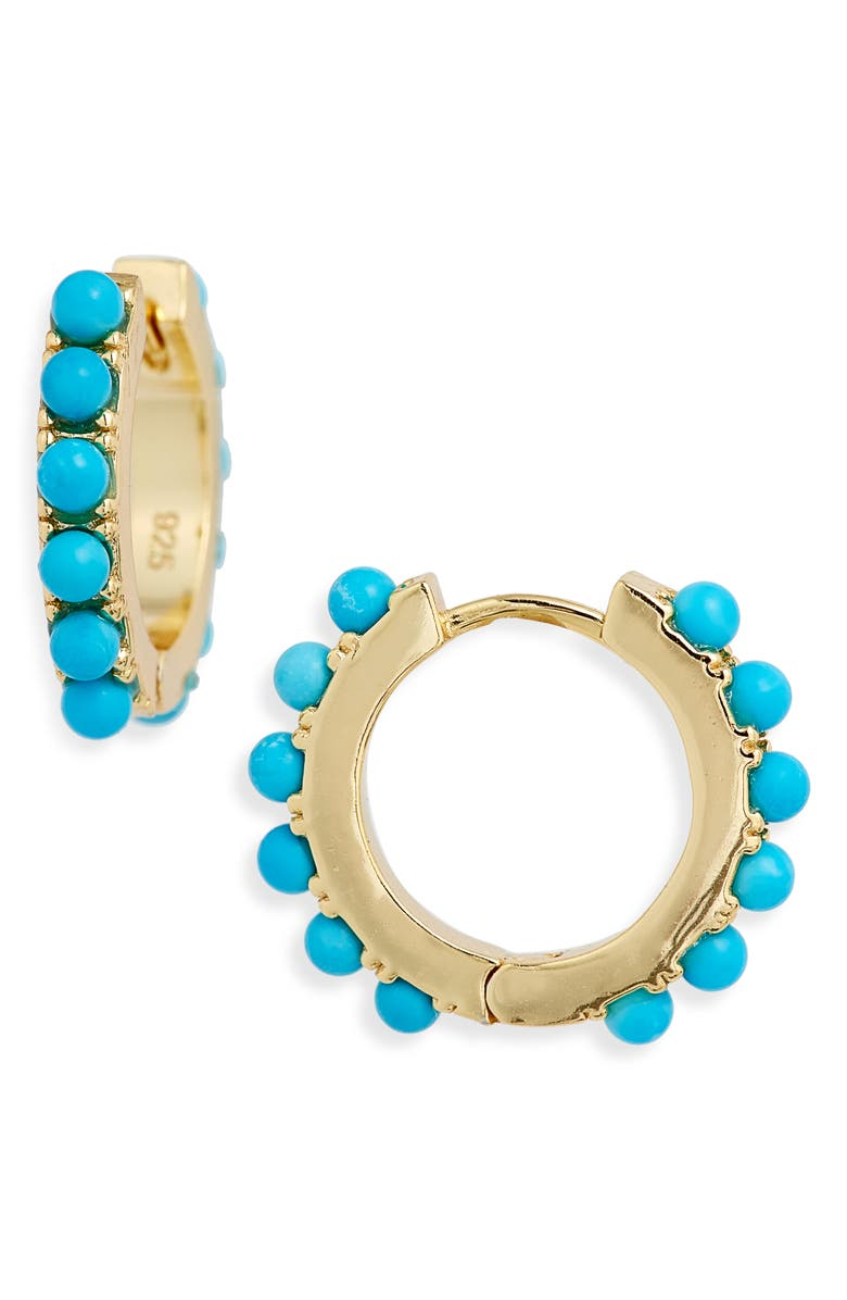 ADINA'S JEWELS Adina's Jewels Huggie Earrings, Main, color, TURQUOISE