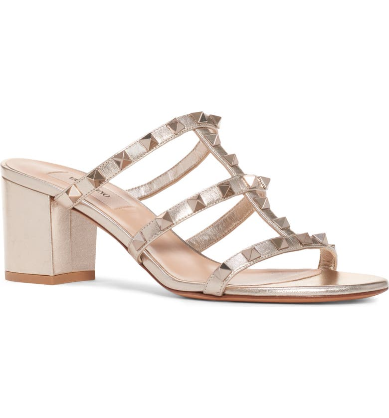 VALENTINO GARAVANI Rockstud Sandal, Main, color, SKIN METALLIC LEATHER