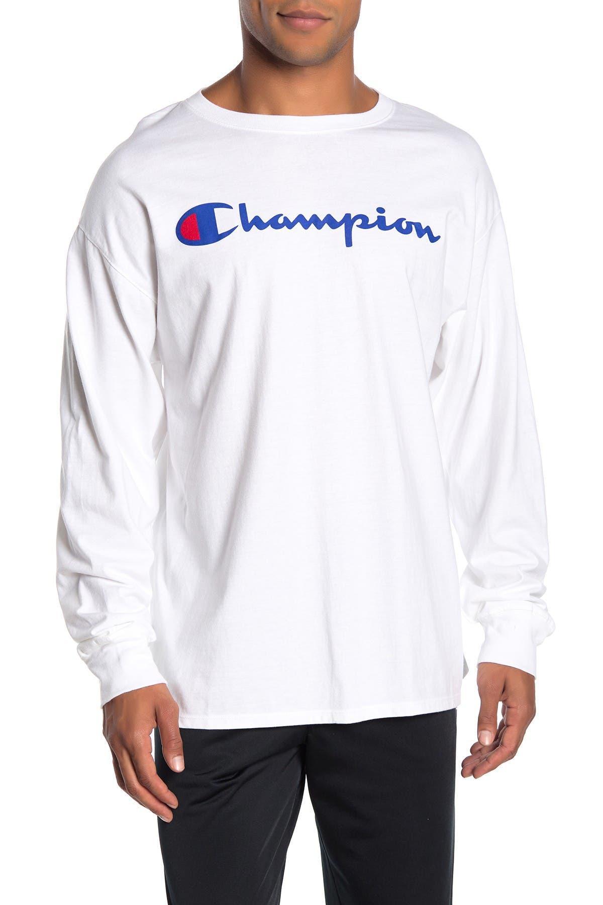 Image of Champion Logo Print Long Sleeve T-Shirt