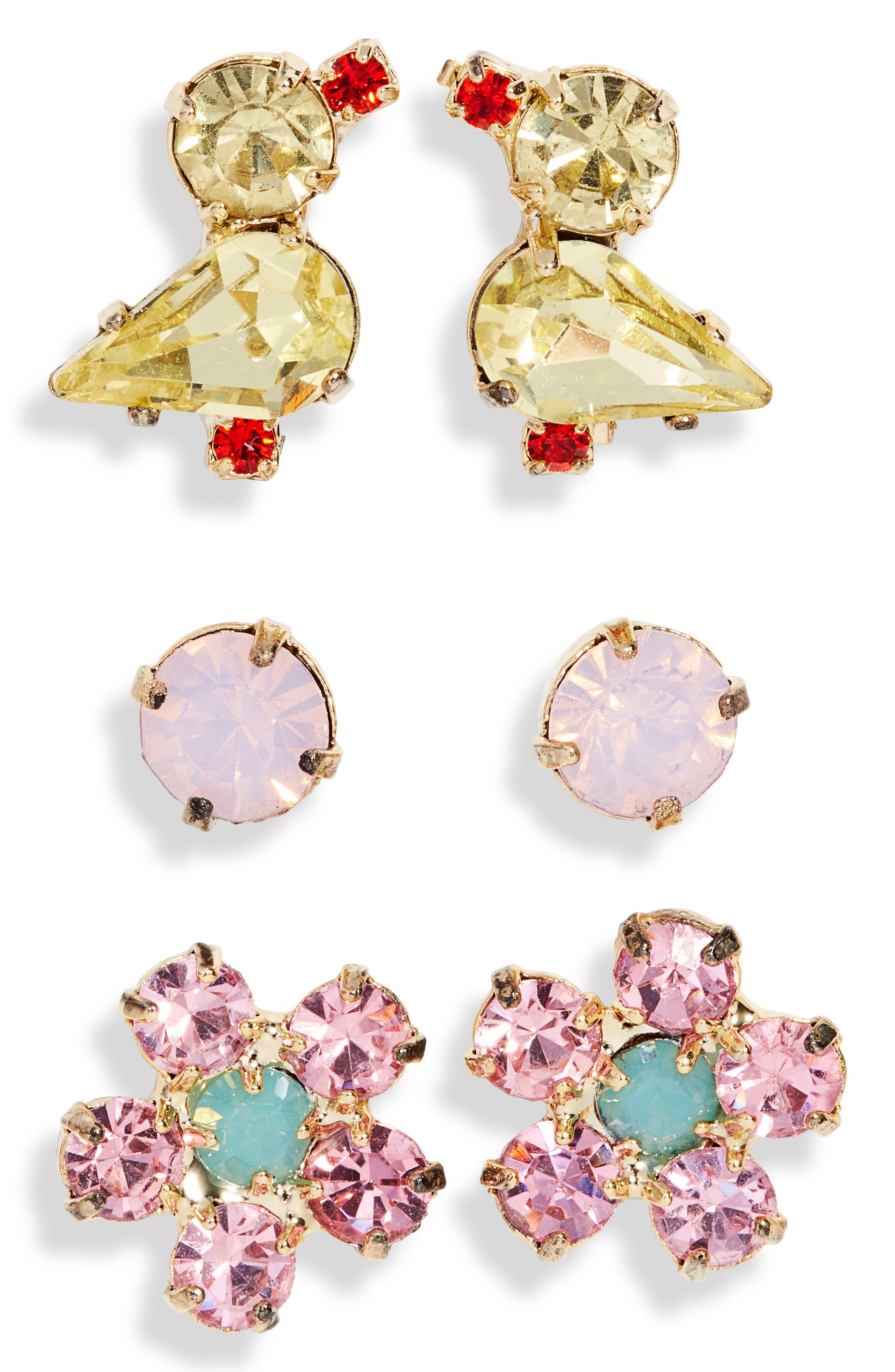 Spring Chicklet Set Of 3 Stud Earrings