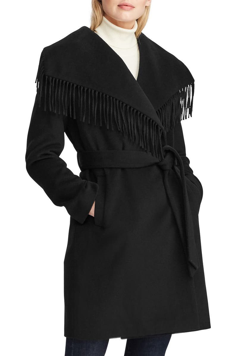 LAUREN RALPH LAUREN Fringe Wool Blend Wrap Coat, Main, color, BLACK