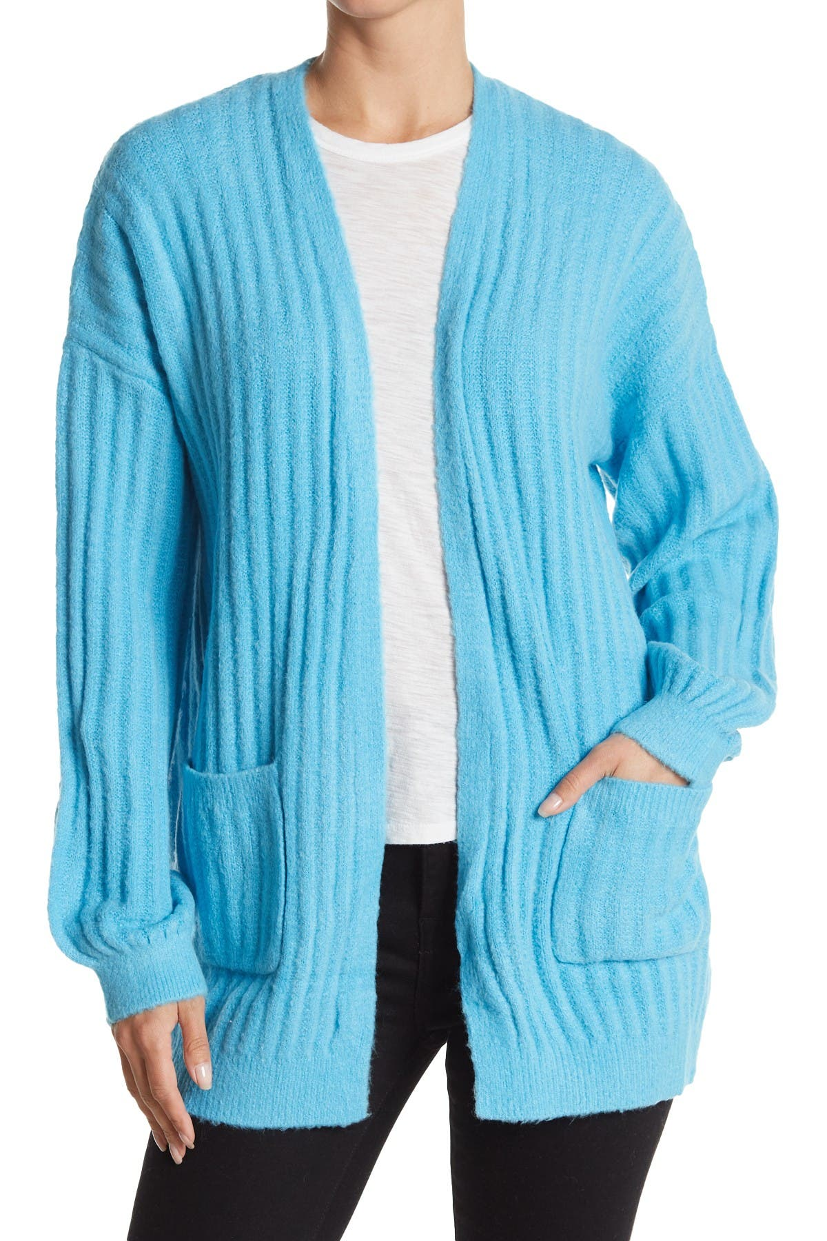Image of Woven Heart Ribbed Knit Open Front Cardigan