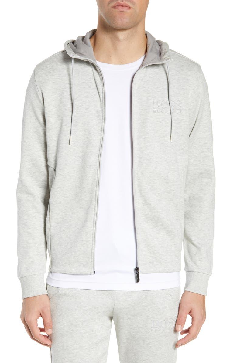 BOSS Saggy Regular Fit Zip Hoodie, Main, color, LIGHT/ PASTEL GREY