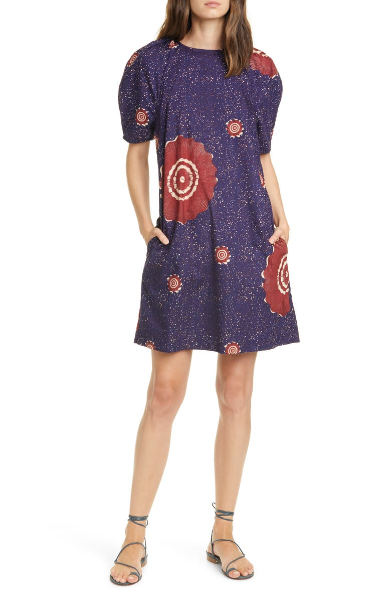 ULLA JOHNSON Waverly Poplin Shift Dress, Main, color, MIDNIGHT
