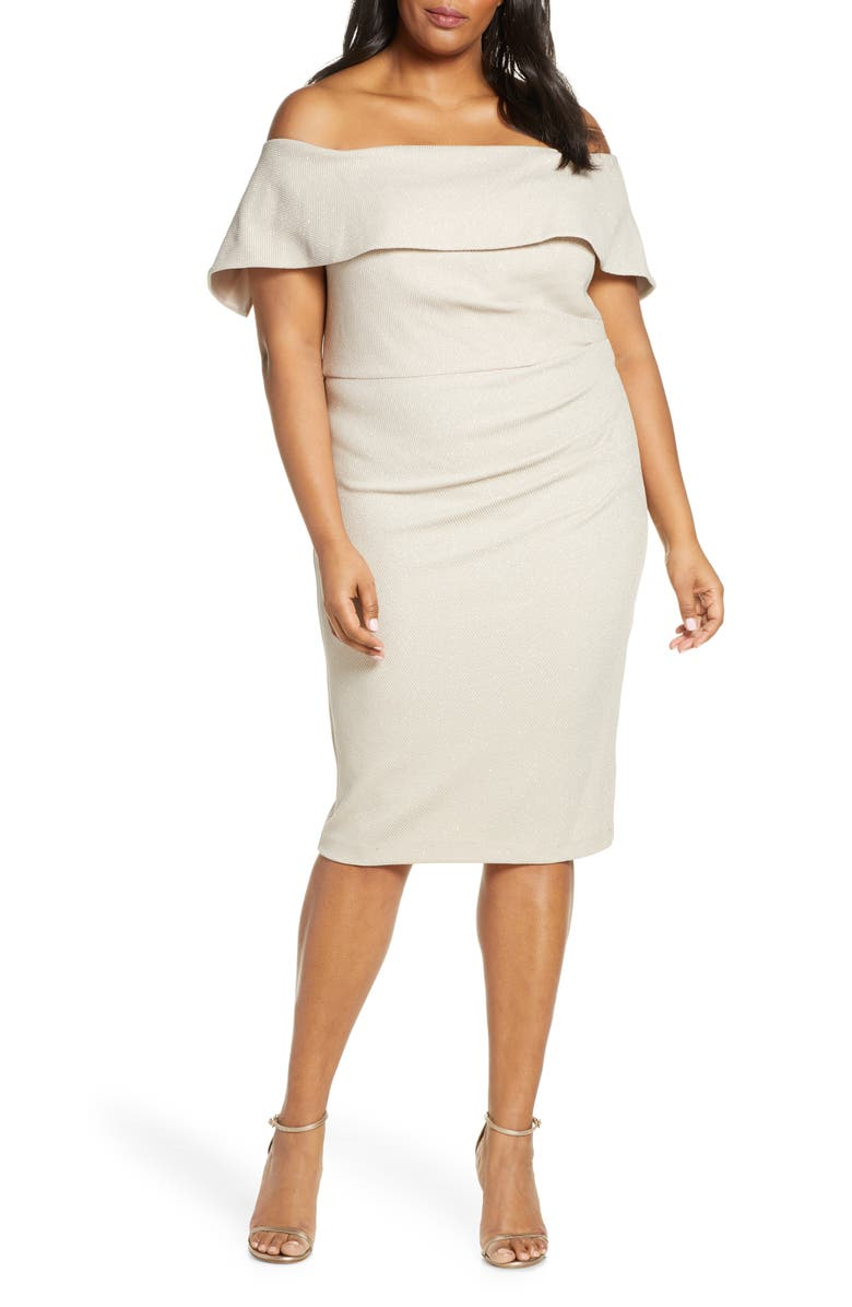 VINCE CAMUTO Popover Off the Shoulder Cocktail Dress, Main, color, CHAMPAGNE