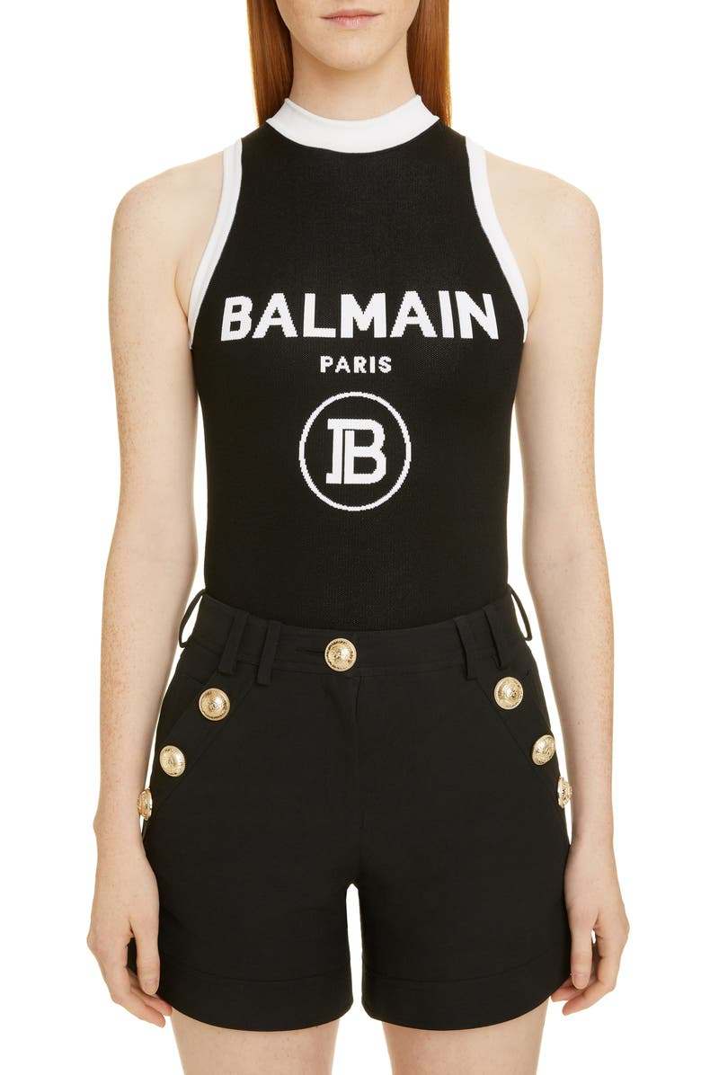 BALMAIN Contrast Trim Logo Bodysuit, Main, color, EAB NOIR/ BLANC