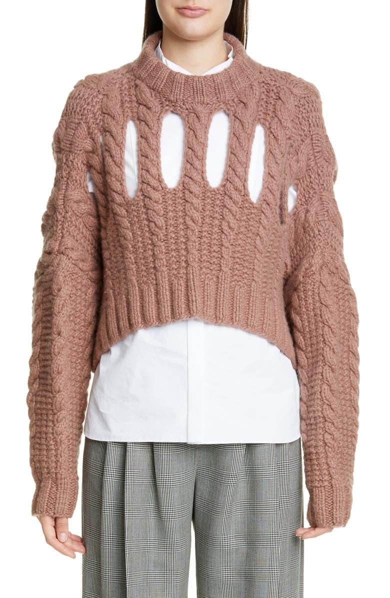 PARTOW Inga Cashmere Crop Sweater, Main, color, BLUSH