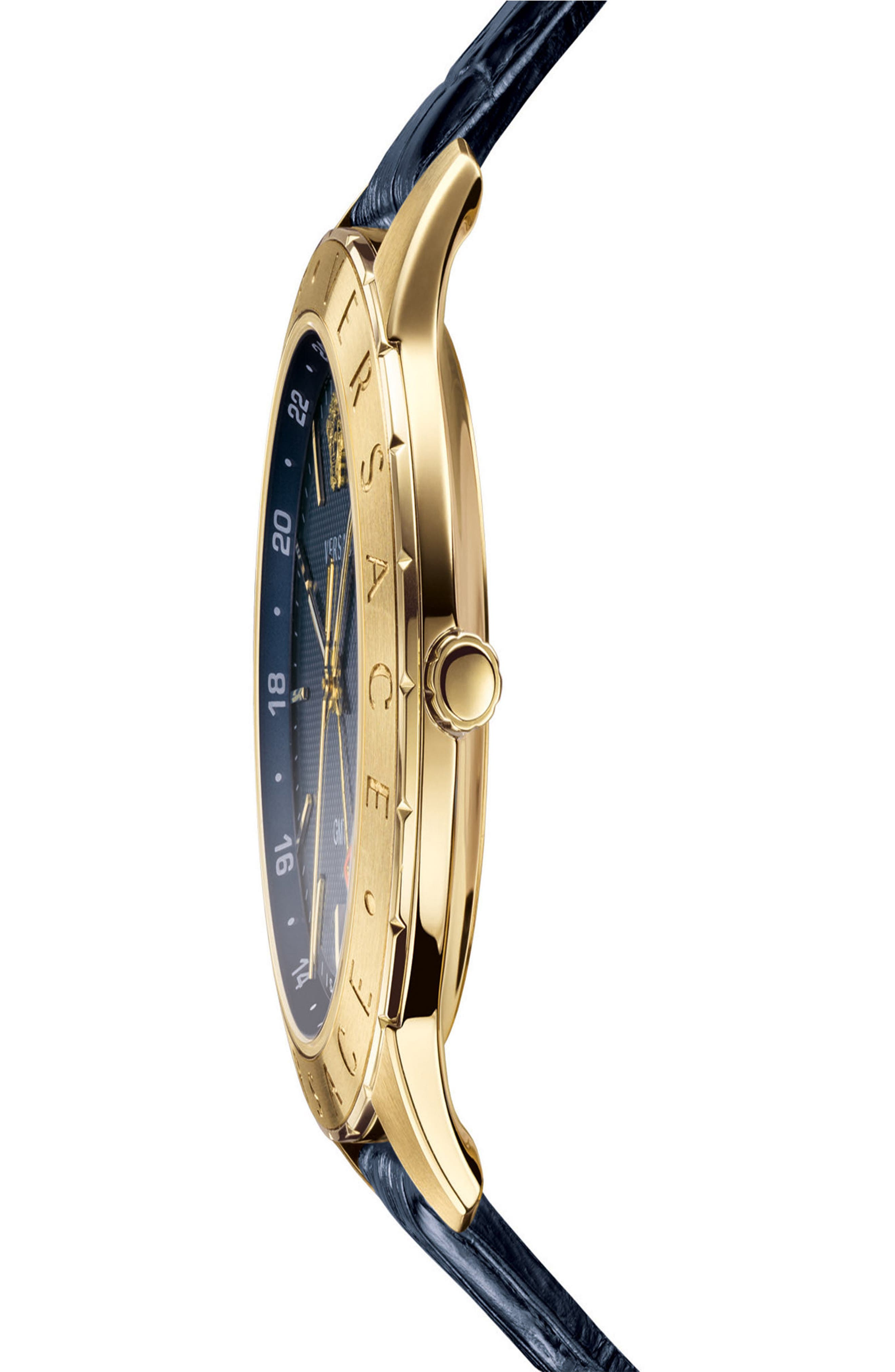 ,                             Univers Leather Strap Watch, 43mm,                             Alternate thumbnail 3, color,                             BLUE/ GOLD
