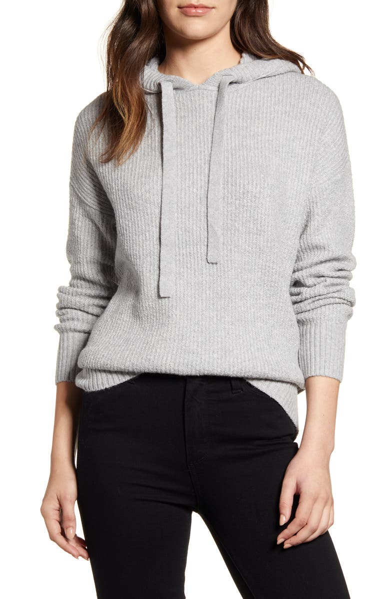 CASLON<SUP>®</SUP> Sweater Hoodie, Main, color, GREY HEATHER