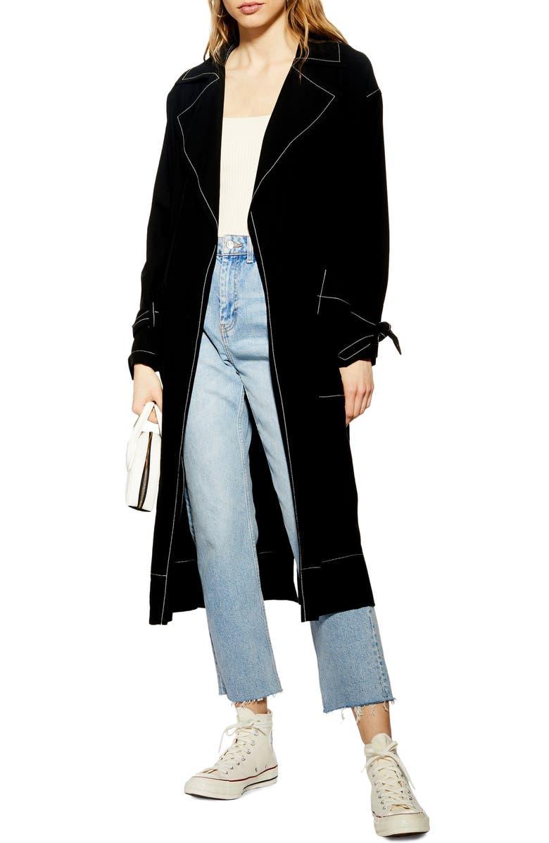 TOPSHOP Belted Duster Coat, Main, color, 001