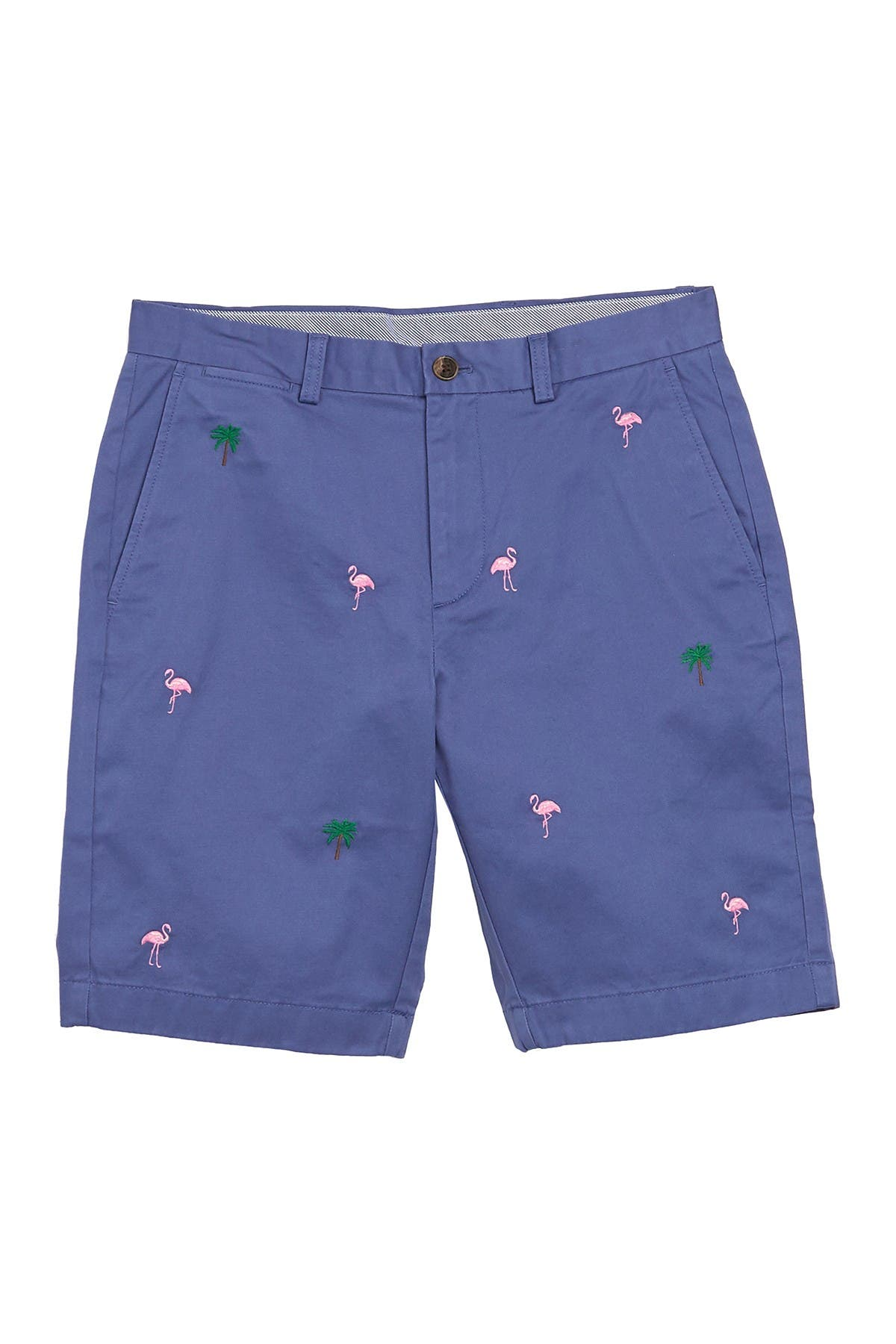 Brooks Brothers Tropical Flamgino Embroidery Stretch Chino Shorts