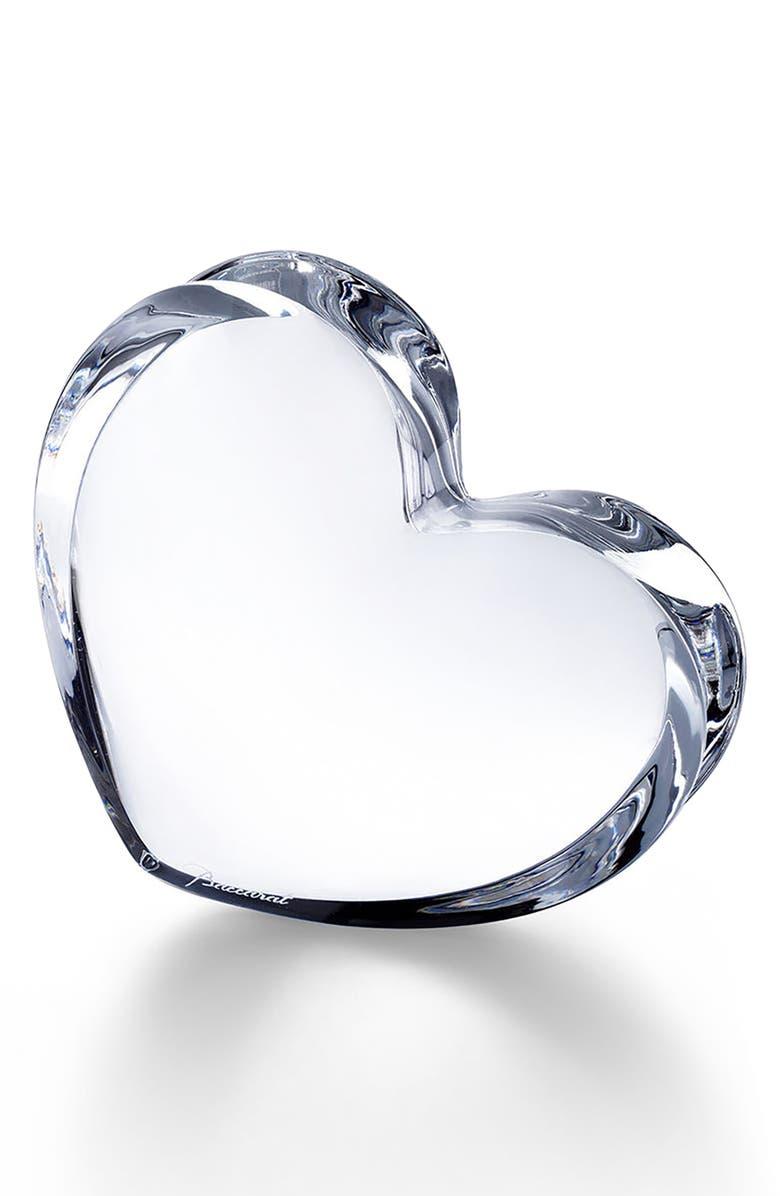 BACCARAT Zinzin Lead Crystal Heart, Main, color, CLEAR