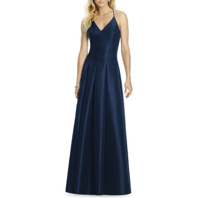 After Six Cross Back Taffeta A-Line Gown