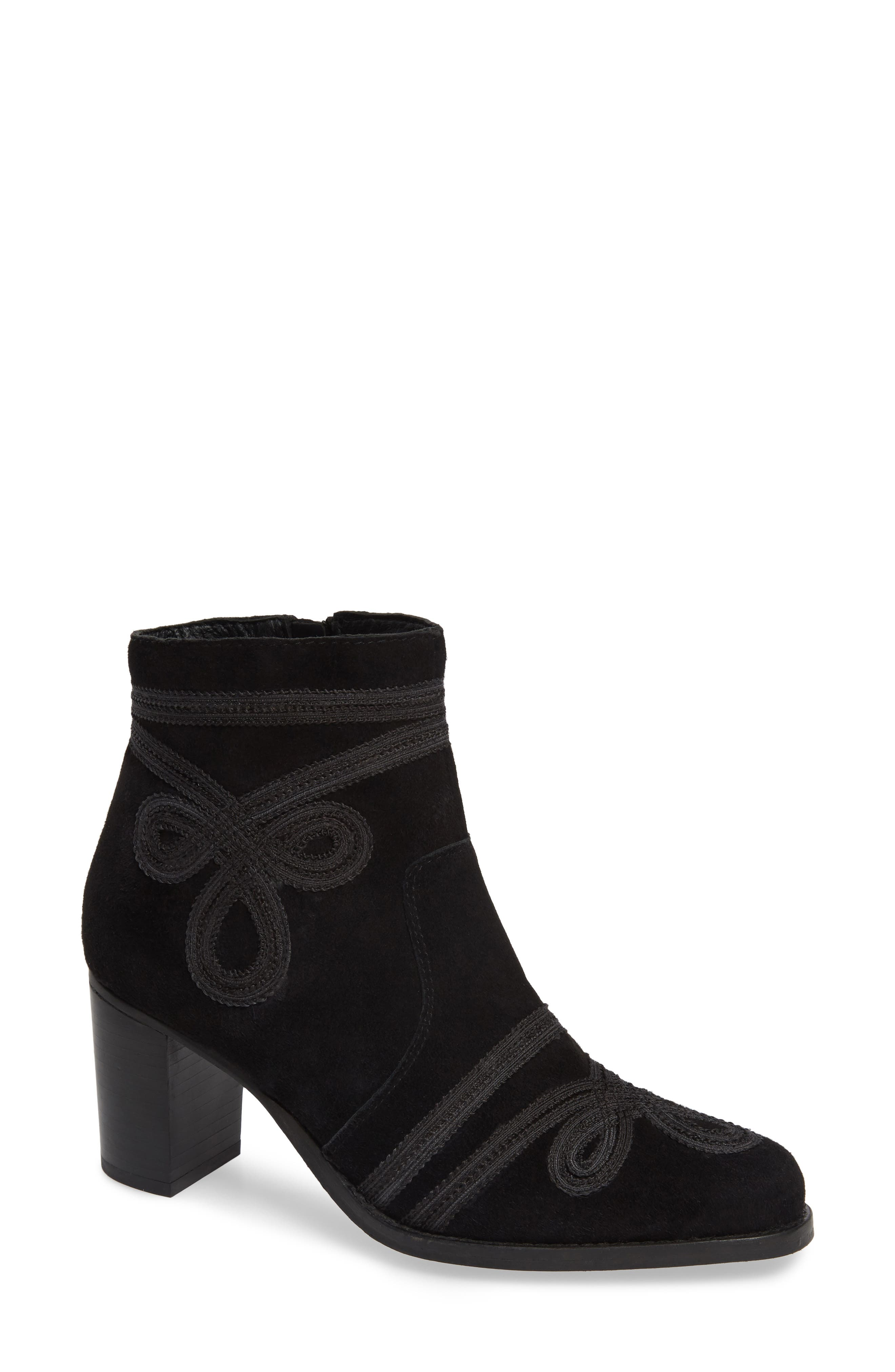 Very Volatile Bordeaux Embroidered Ankle Bootie- Black