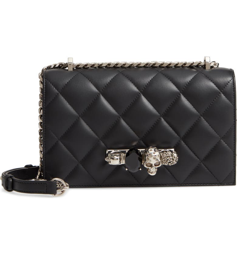 ALEXANDER MCQUEEN Matelassé Leather Shoulder Bag, Main, color, BLACK