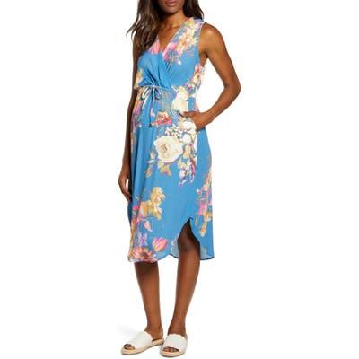 Angel Maternity Floral Maternity/nursing Sundress, Blue