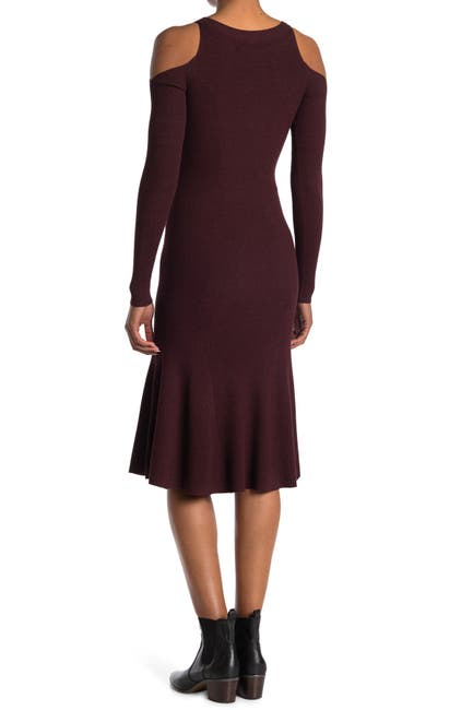 Image of ALLSAINTS Yasmin Cold Shoulder Midi Sweater Dress