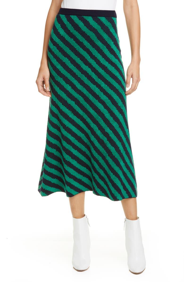 CHRISTIAN WIJNANTS Kaida Stripe Wool Blend Midi Skirt, Main, color, EMERALD/ NAVY STRIPES