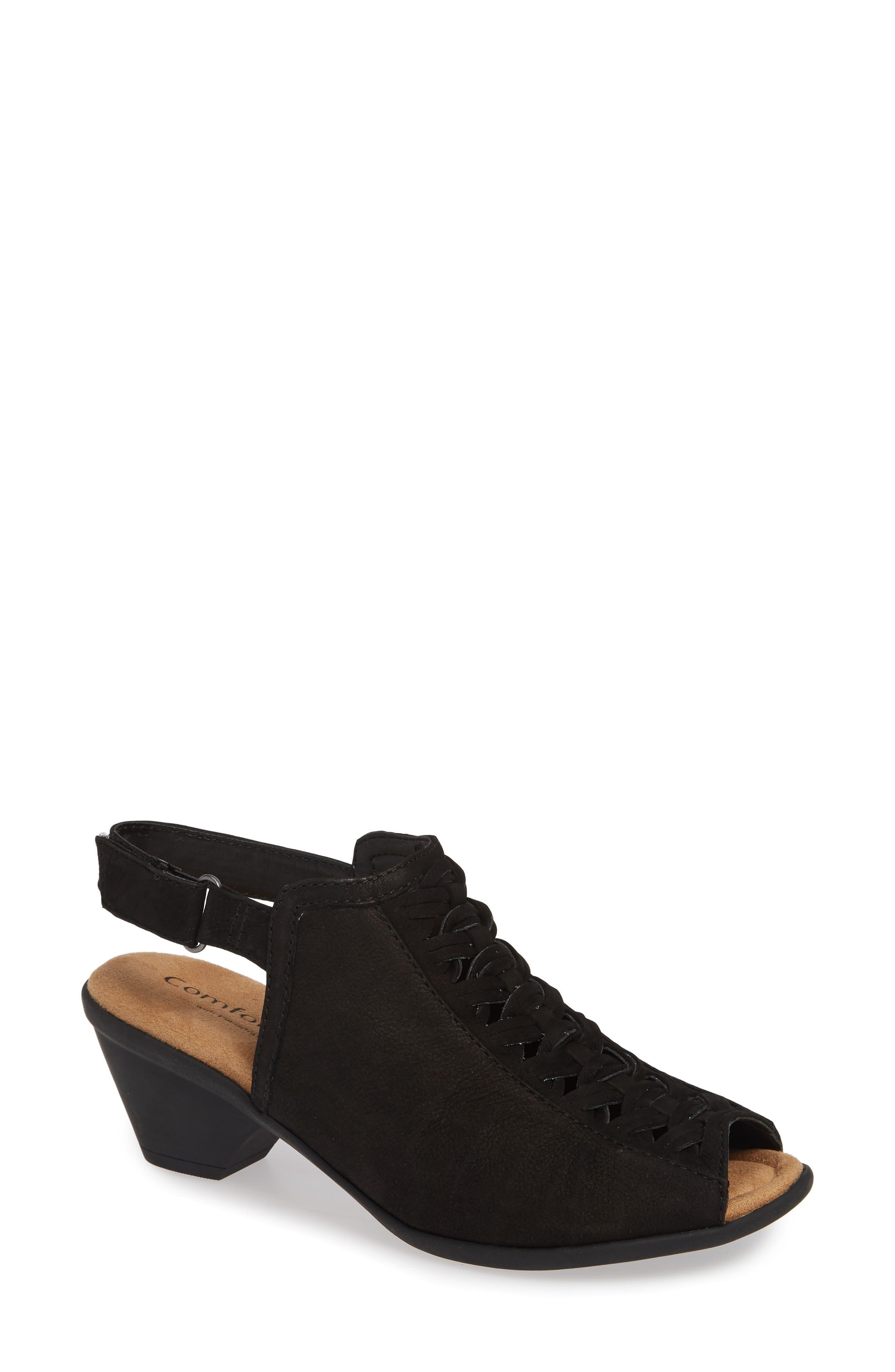 Comfortiva Finella Leather Sandal, Black