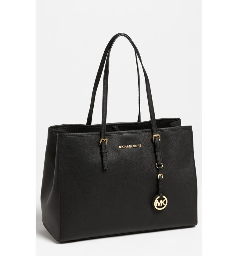 MICHAEL MICHAEL KORS 'Jet Set - Large' Travel Tote, Main, color, 001
