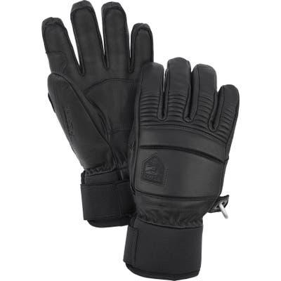 Hestra Fall Line Leather Ski Gloves, Black