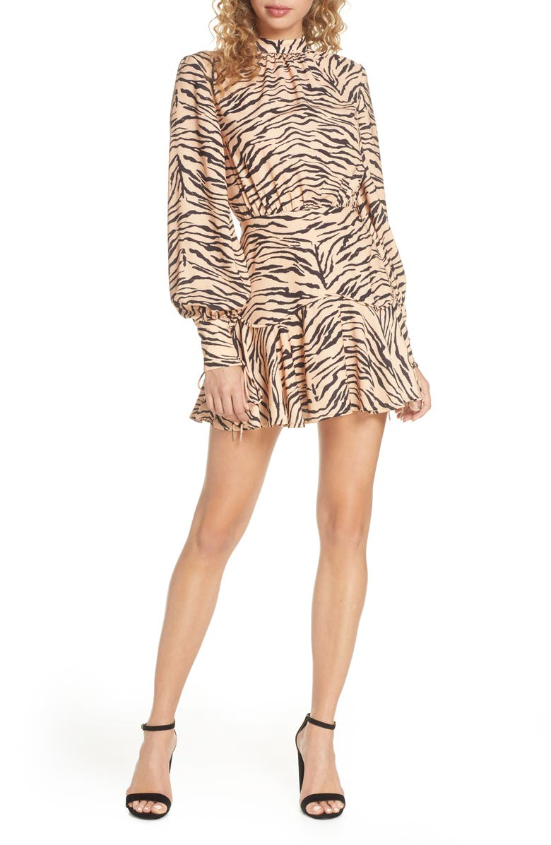 FINDERS KEEPERS Romy Tiger Print Long Sleeve Minidress, Main, color, TAN TIGER