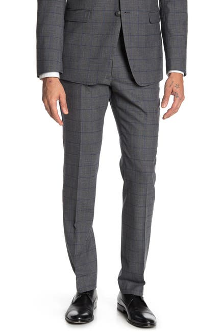 "Image of Original Penguin Medium Gray Windowpane Flat Front Suit Separates Trousers - 30-34"" Inseam"