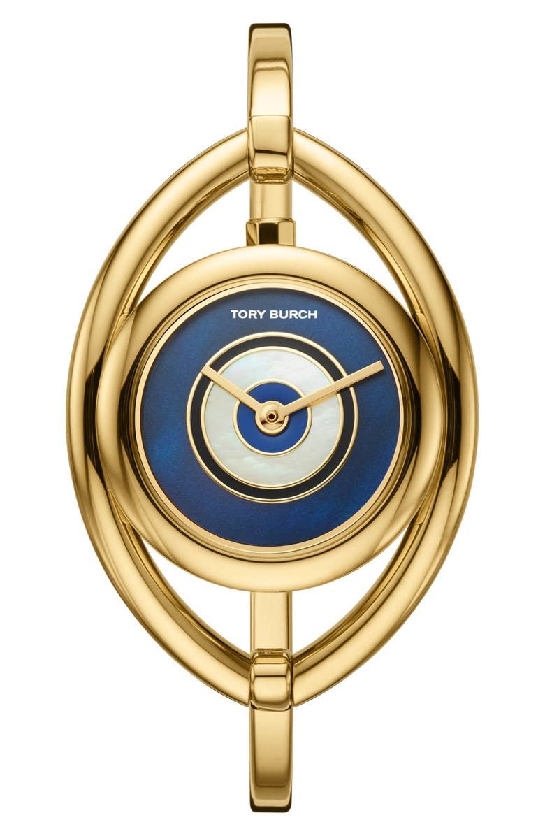 토리버치 Tory Burch Evil Eye Bangle Watch, 25mm,gold/ black/ gold