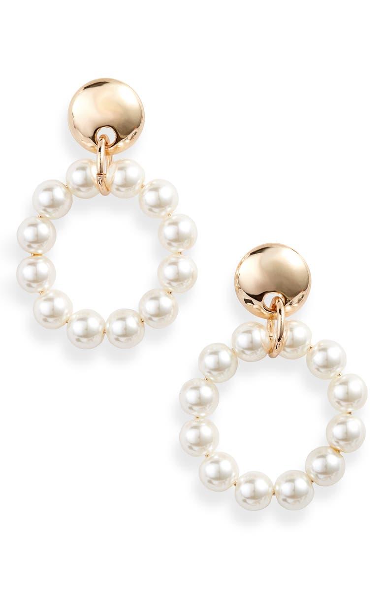 LELE SADOUGHI Imitation Pearl Frontal Hoop Earrings, Main, color, 900