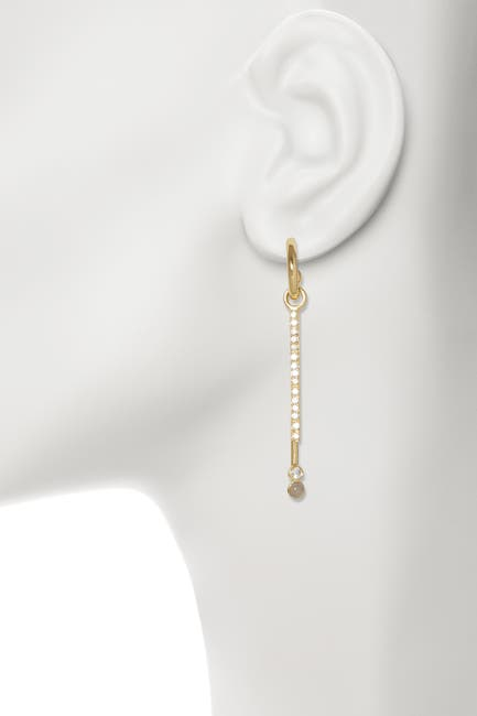 Image of Sole Society Blue Agate Accent Pave Double Stick Linear Drop Huggie Earrings