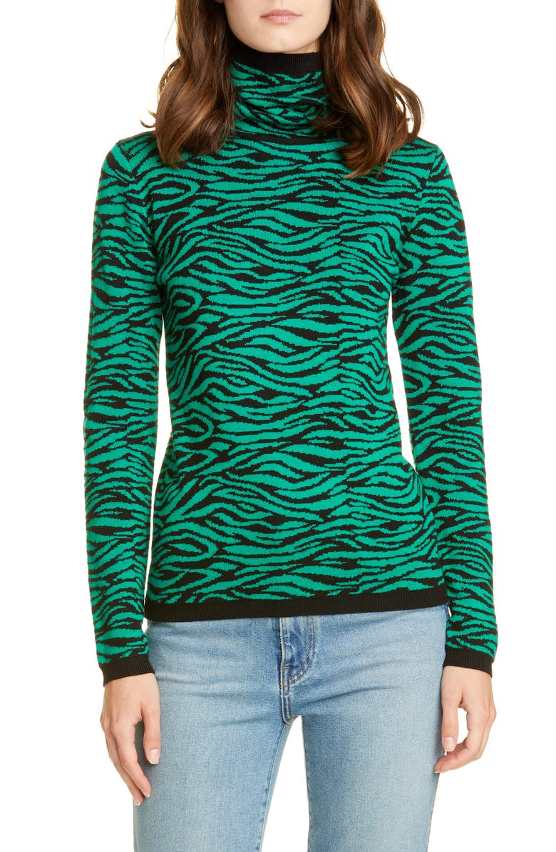 VICTOR GLEMAUD Tiger Stripe Turtleneck Wool Sweater, Main, color, GREEN AND BLACK PRINT