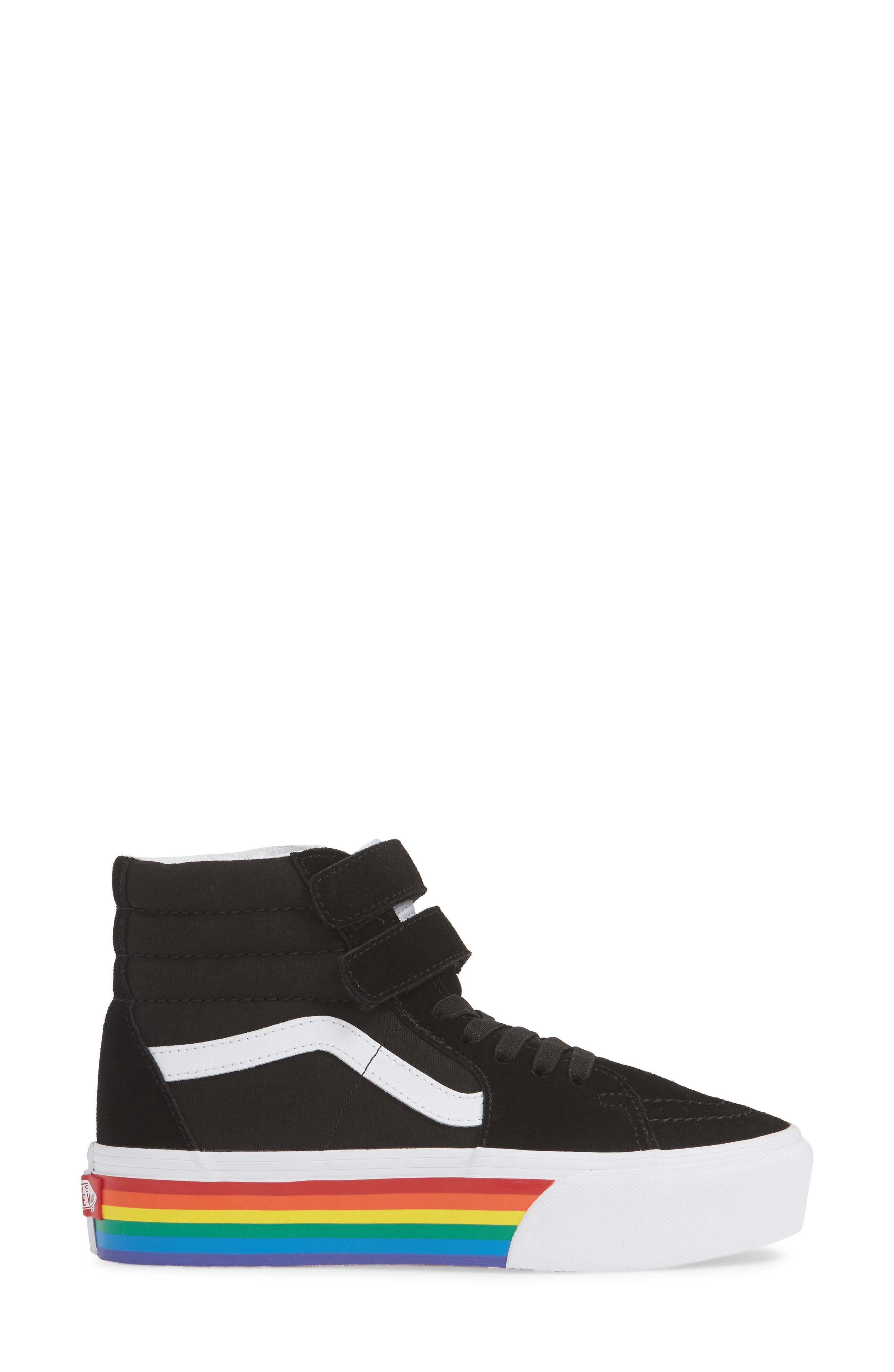 ,                             Sk8-Hi V Rainbow Platform Sneaker,                             Alternate thumbnail 3, color,                             RAINBOW BLACK/ TRUE WHITE