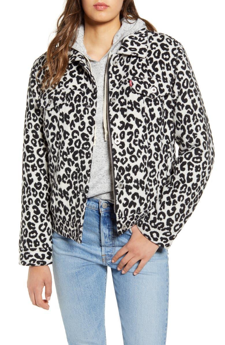 LEVI'S<SUP>®</SUP> Leopard Print Trucker Jacket, Main, color, 001
