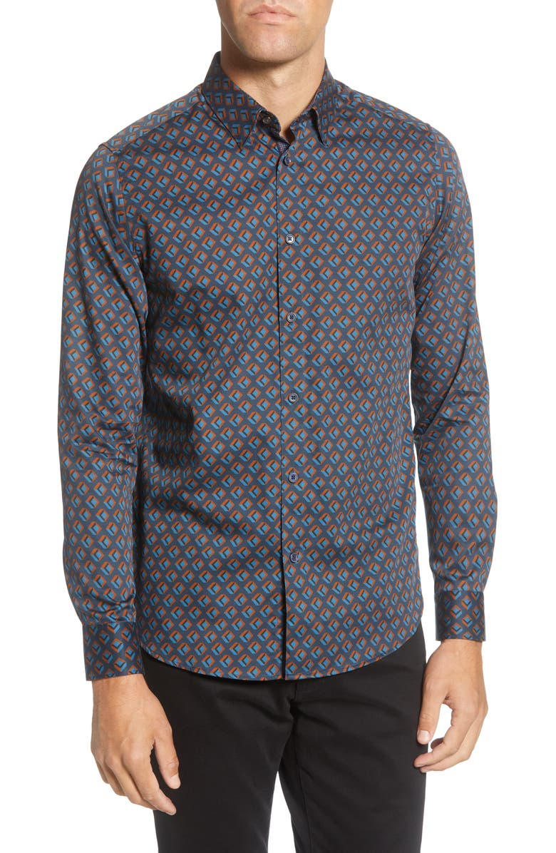 TED BAKER LONDON Slim Fit Geo Print Button-Up Shirt, Main, color, NAVY