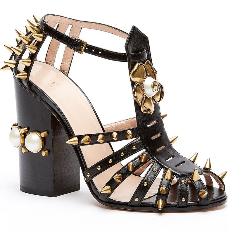 GUCCI 'Kendall' Ankle Strap Pump, Main, color, 001