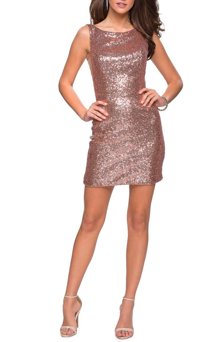 LA FEMME Sequin Cocktail Dress, Main, color, ROSE GOLD