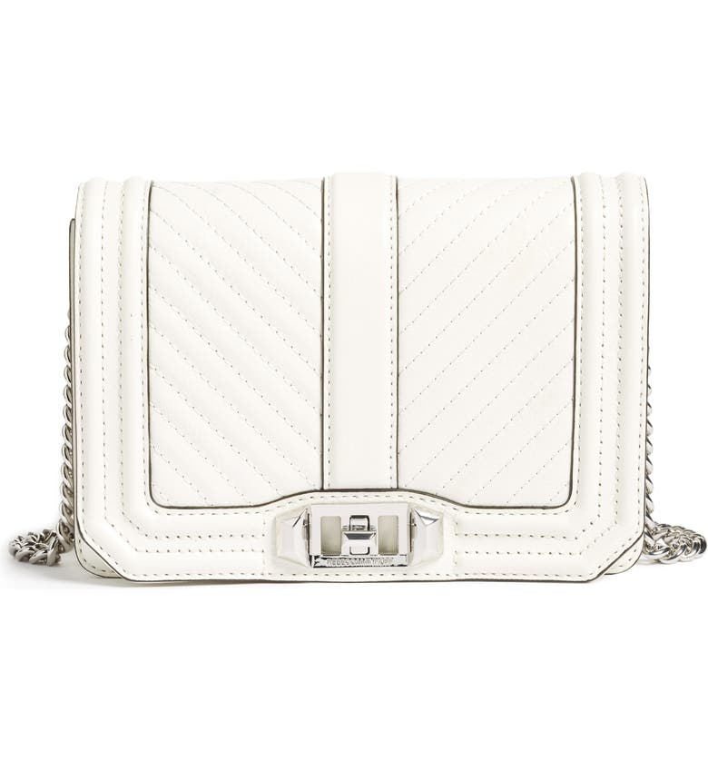 REBECCA MINKOFF Small Love Chevron Quilted Leather Crossbody Bag, Main, color, 129