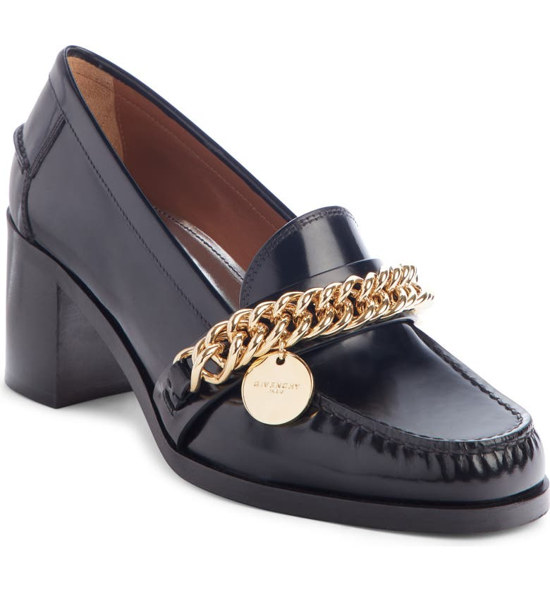 GIVENCHY Chain Loafer Pump, Main, color, BLACK