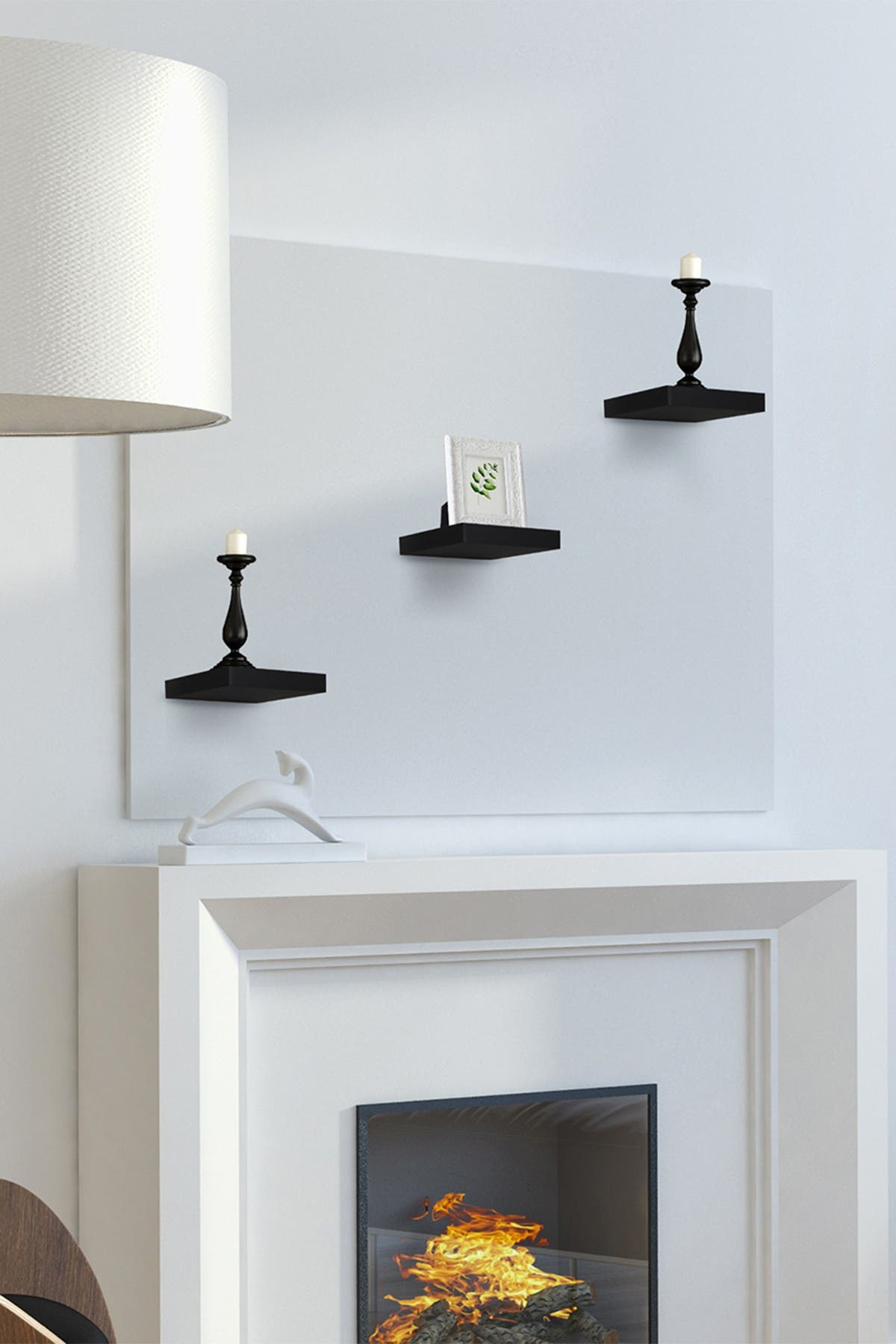 Image of Sorbus Tile Wall Shelf - Set of 3 - Black