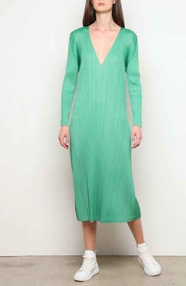 Pleated Long Sleeve Midi Dress, video thumbnail