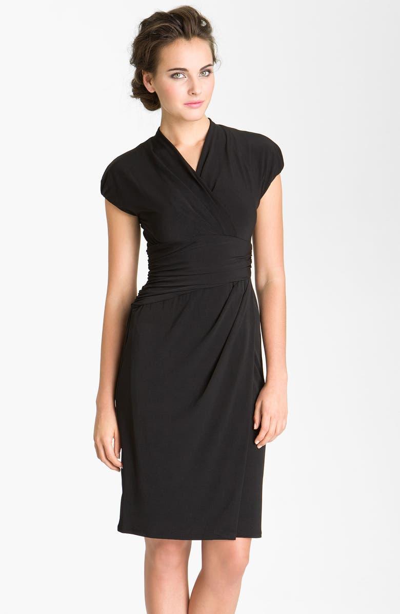 IVY & BLU Ruched Faux Wrap Dress, Main, color, 001